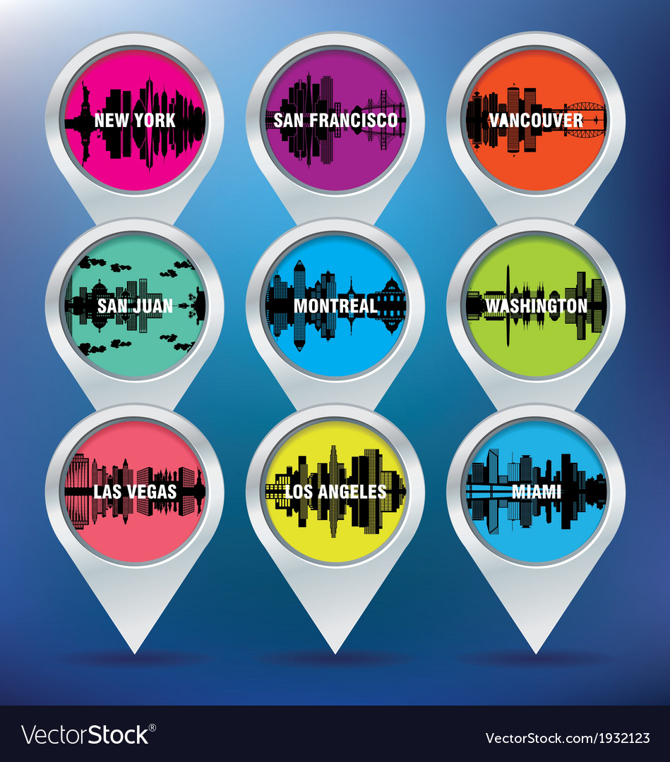 Map pins with New York San Francisco Vancouver vector image