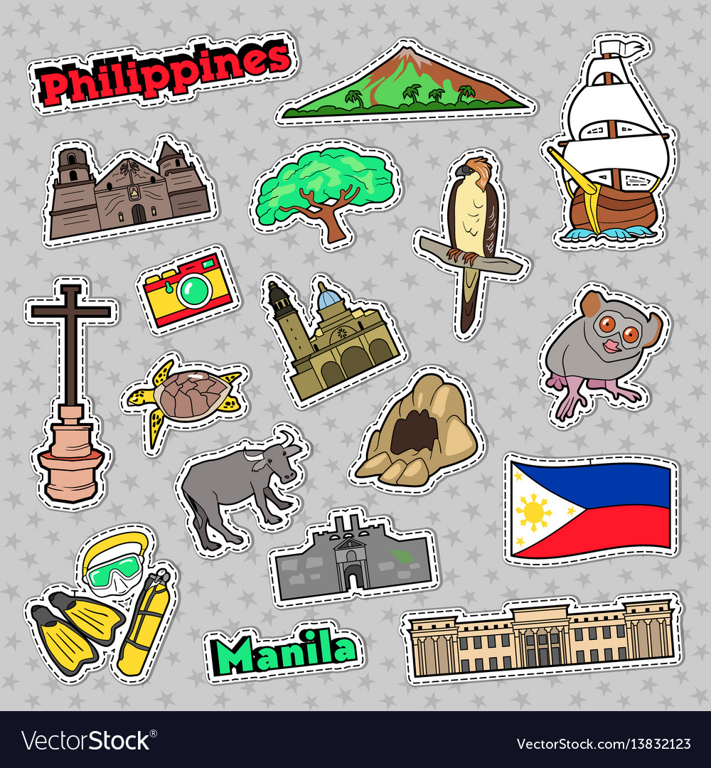 Philippines travel set with architecture