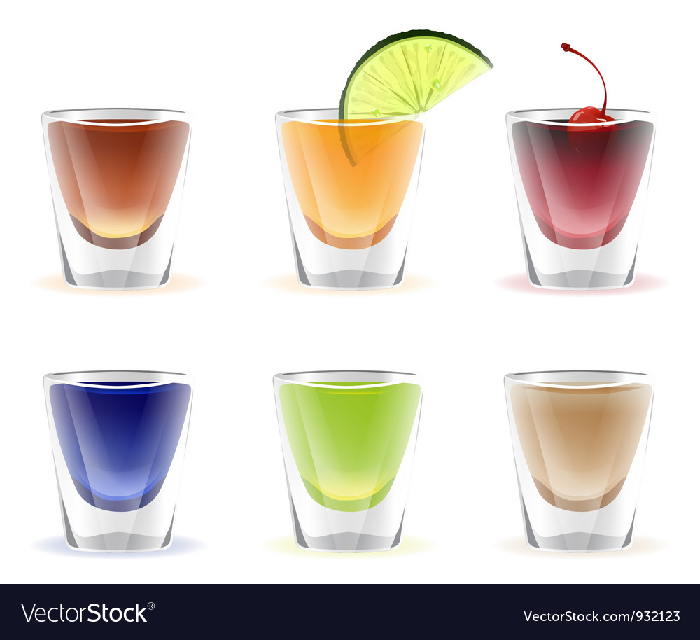 set of colorful alcohol shots drink vector art download