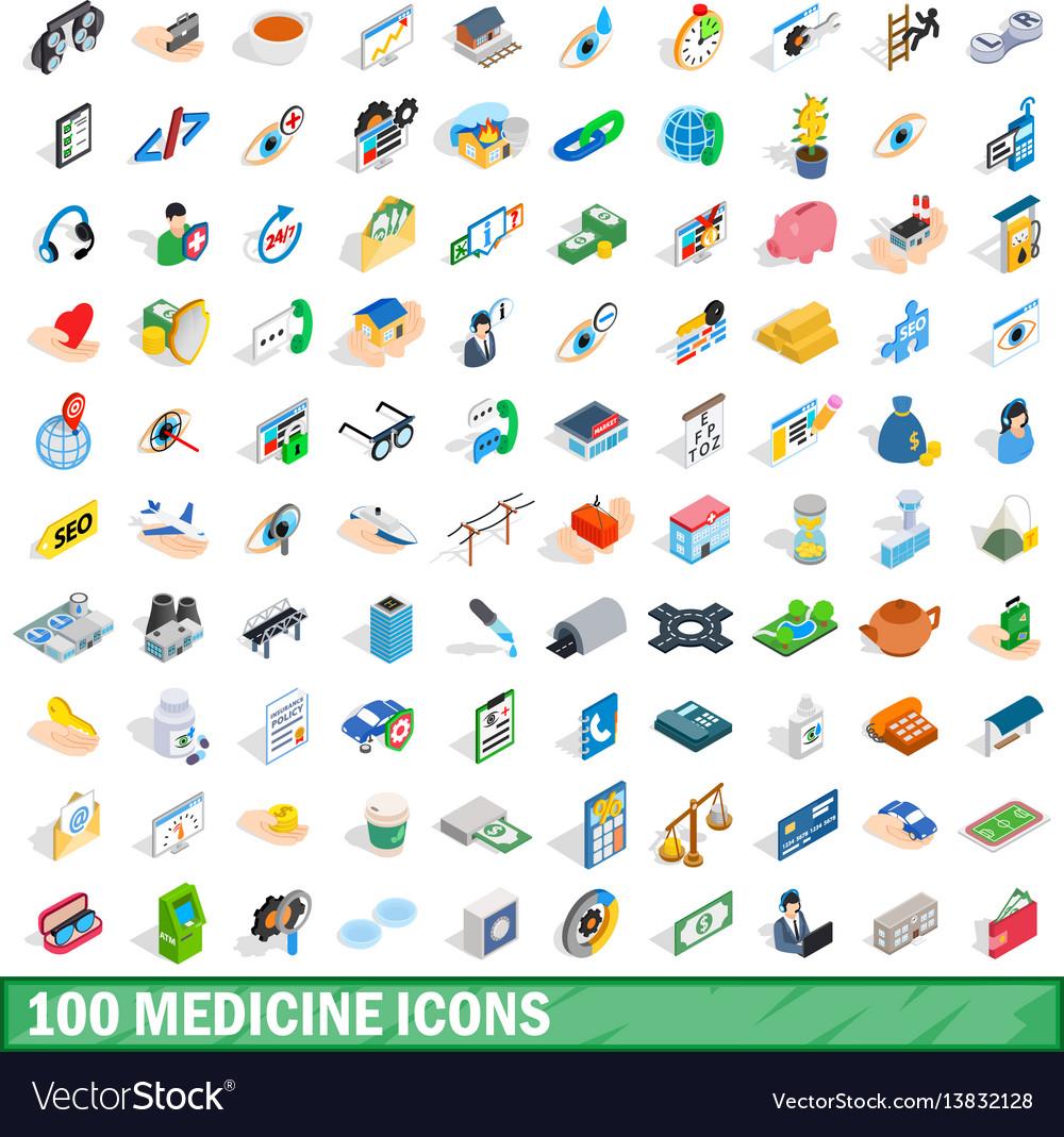 100 medicine icons set isometric 3d style