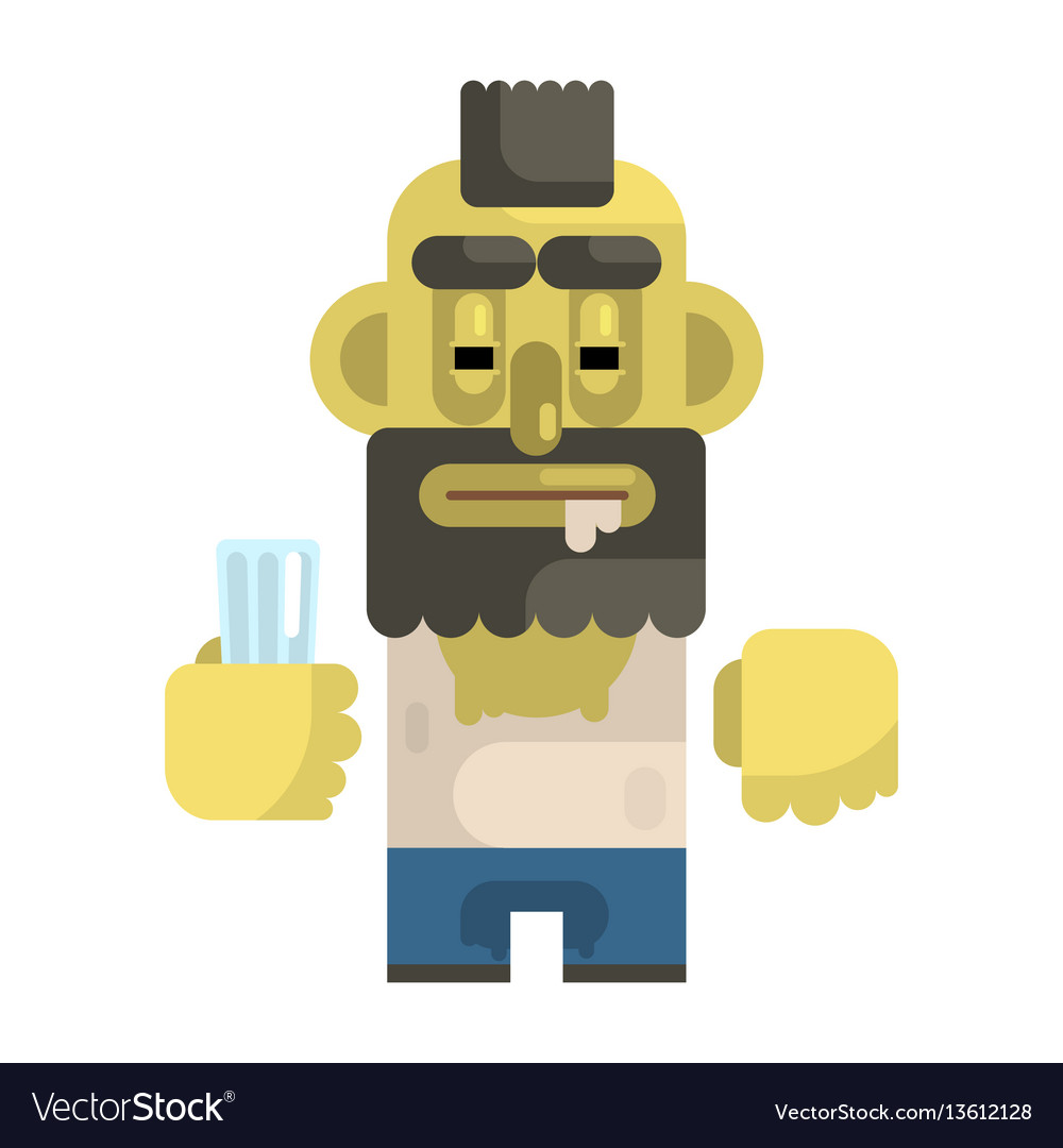 Alcoholic with glass and mohawk revolting vector image