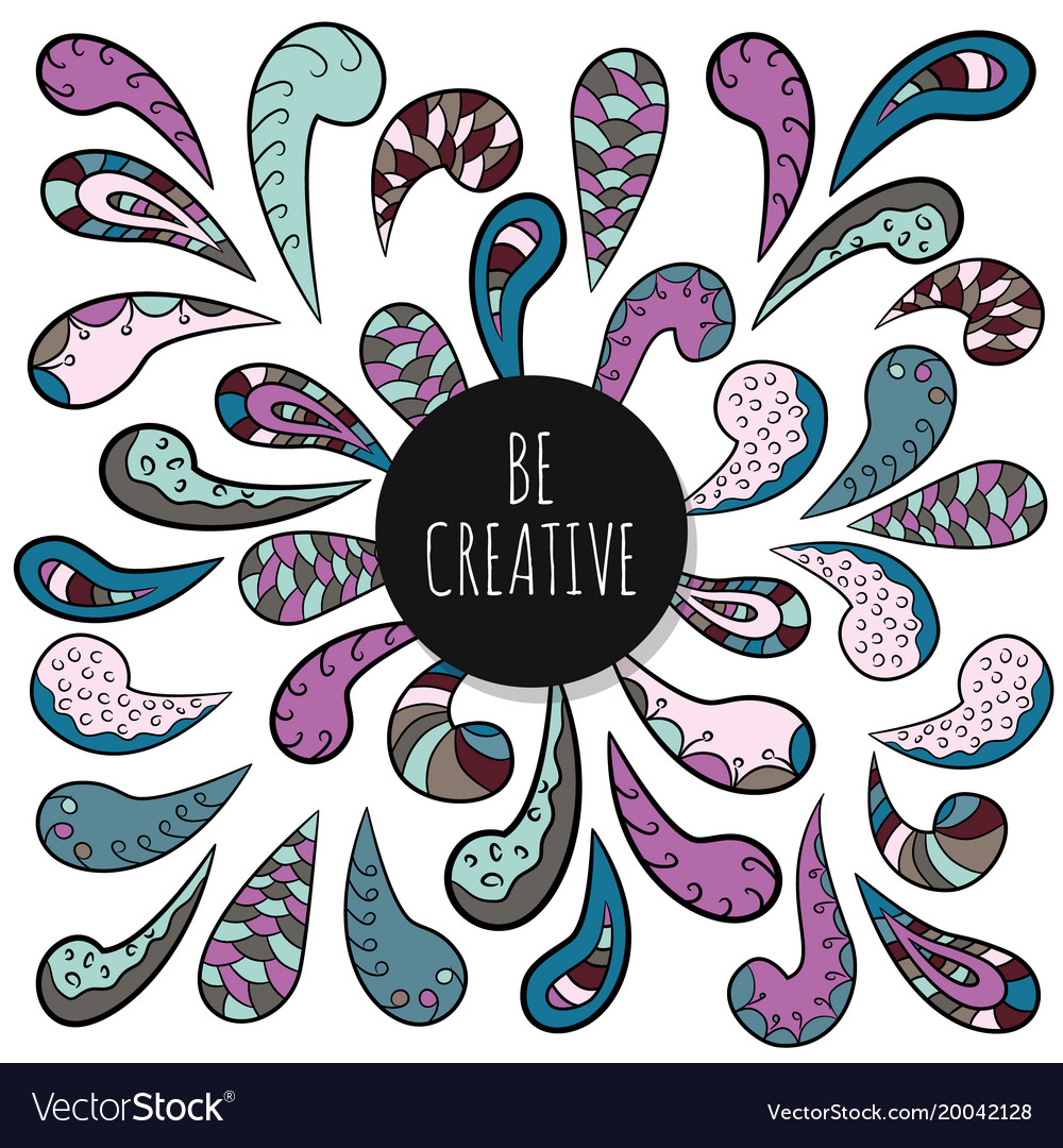 Be Creative Inspirational Poster Template Doodle Vector Image