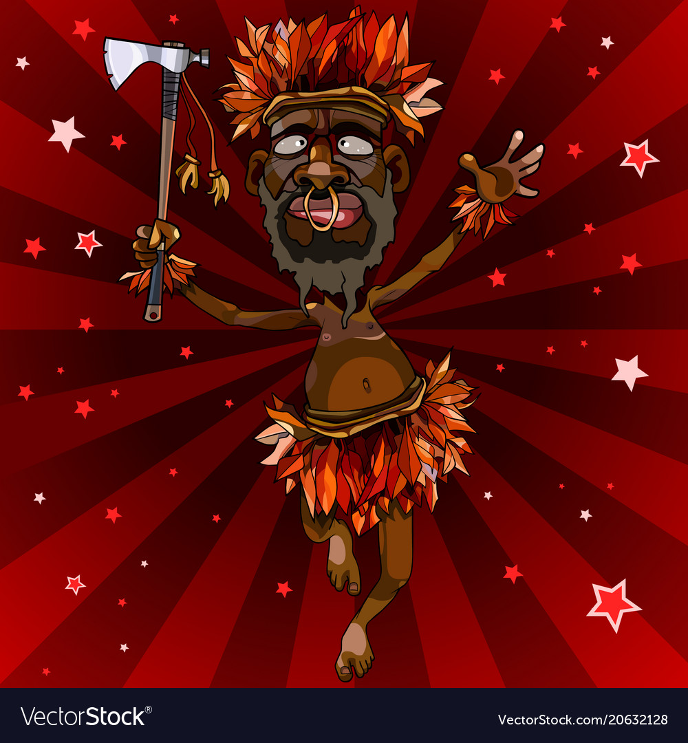 Cartoon man dances in an aboriginal costume with