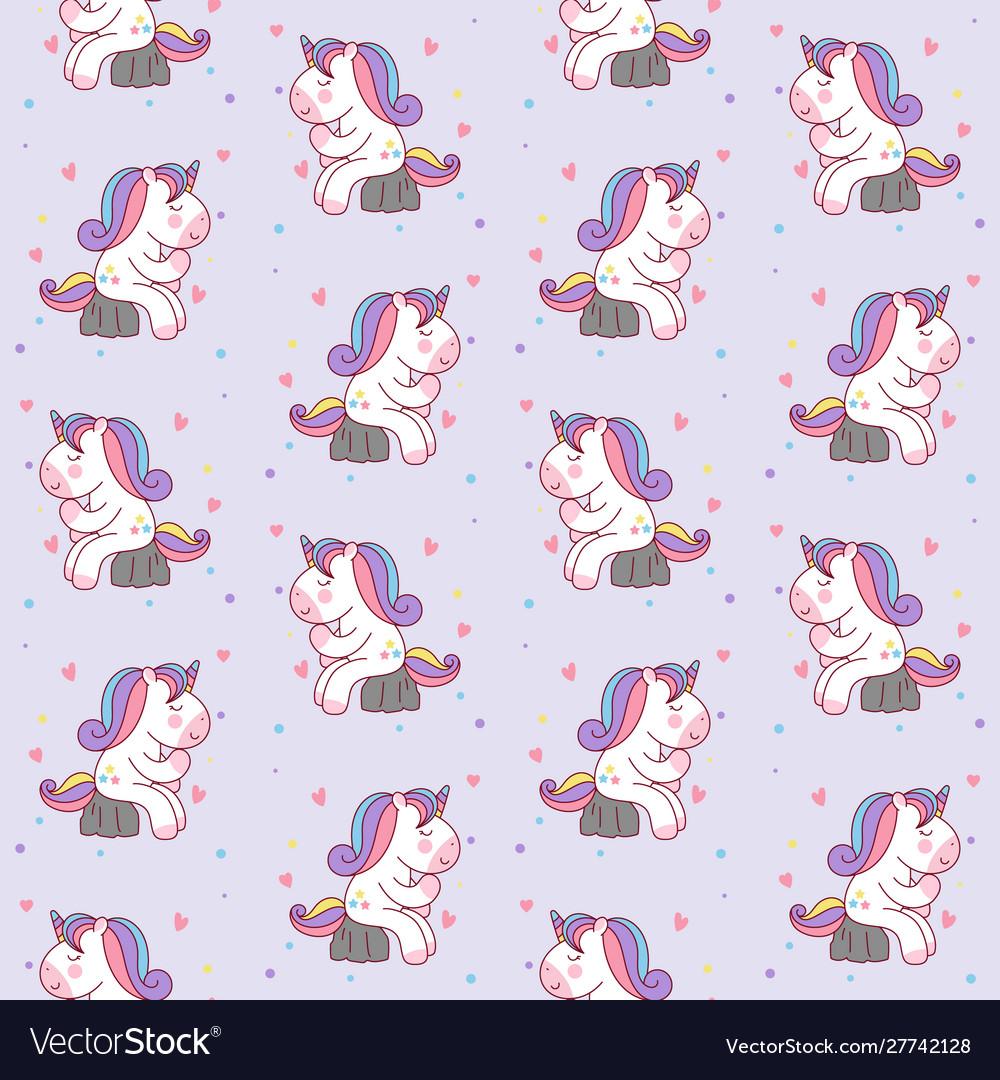 Cute cartoon unicorn sitting on stone like a