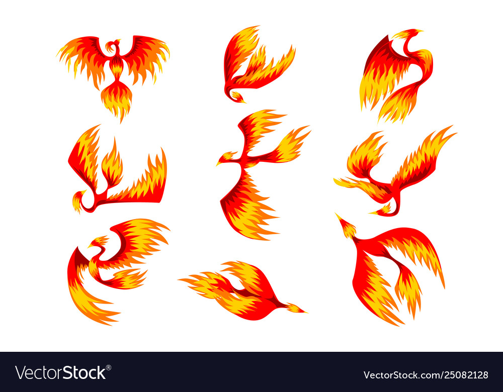 Flaming phoenix bird set fairy tale character