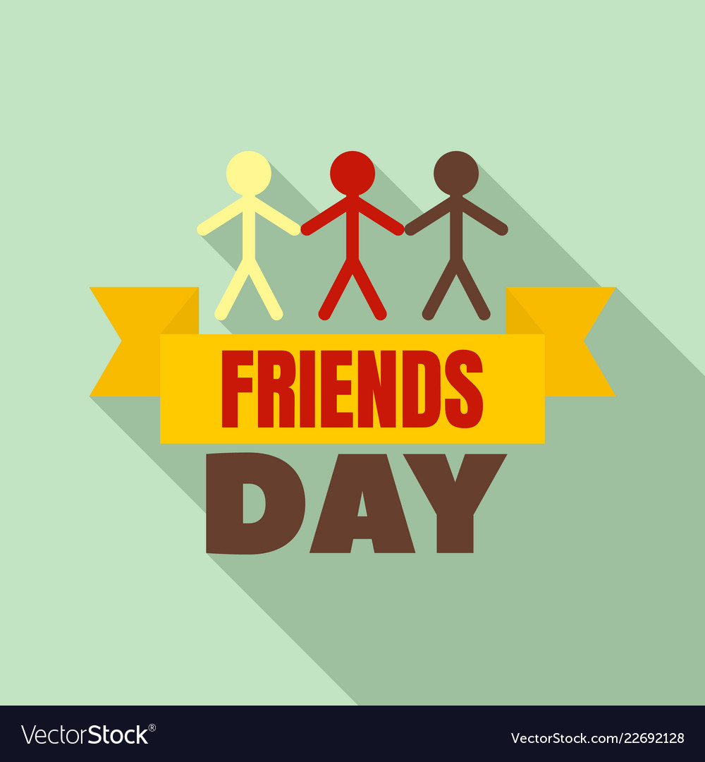 Friends group day logo flat style