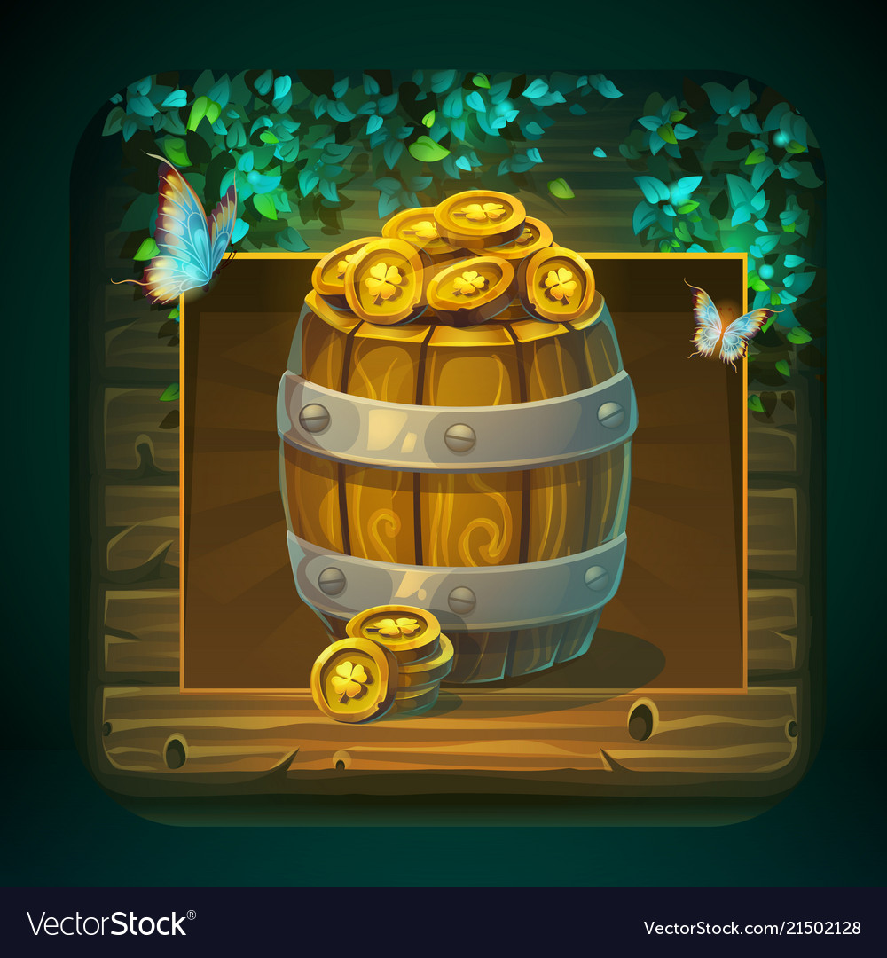 Icon barrel with gold coins for game user