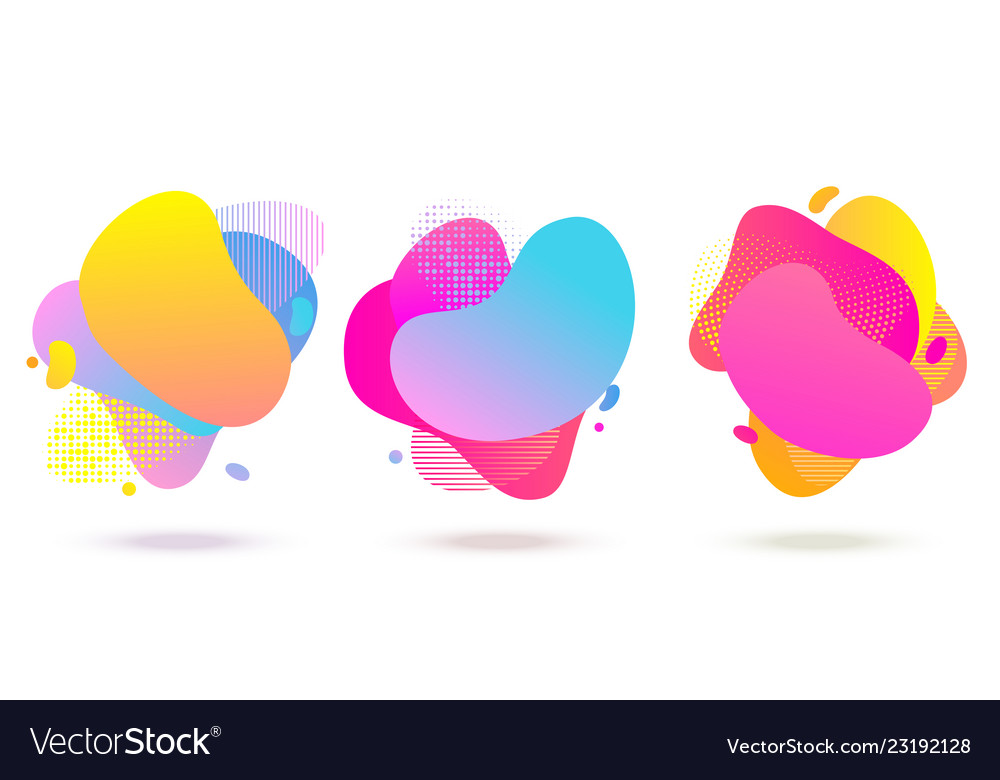 Liquid color abstract fluid shapes with halftone