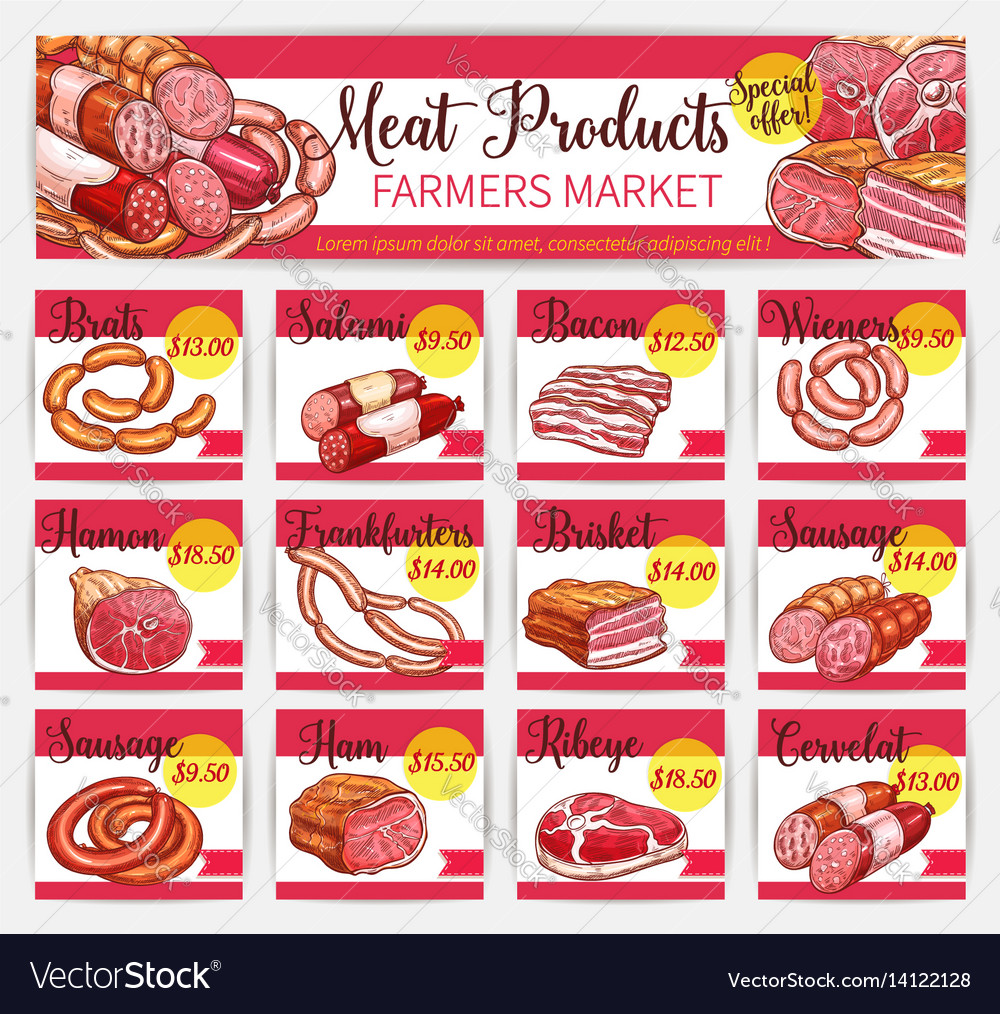 Meat price cards butchery market template