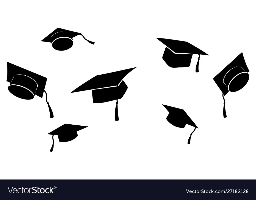 Set flying graduation caps collection of