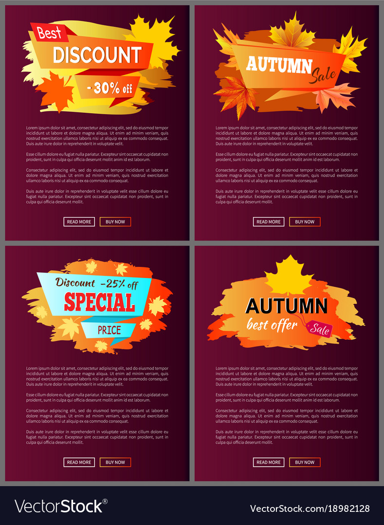 set of leaflets with foliage autumn big sale 2017 vector image