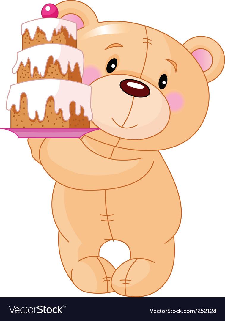 illustration of cute teddy bear bringing birthday cake. Keywords: