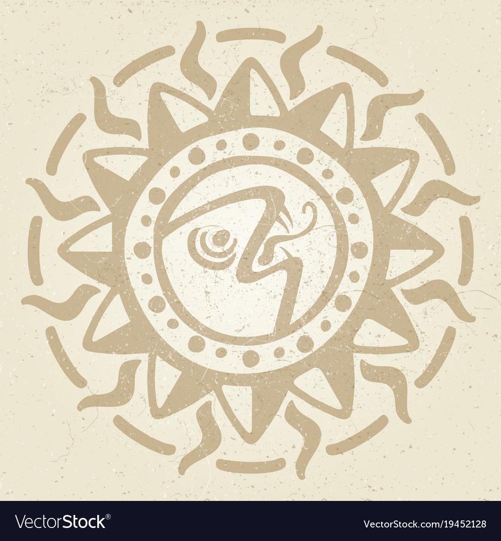 Vintage ancient mexican mythology symbol