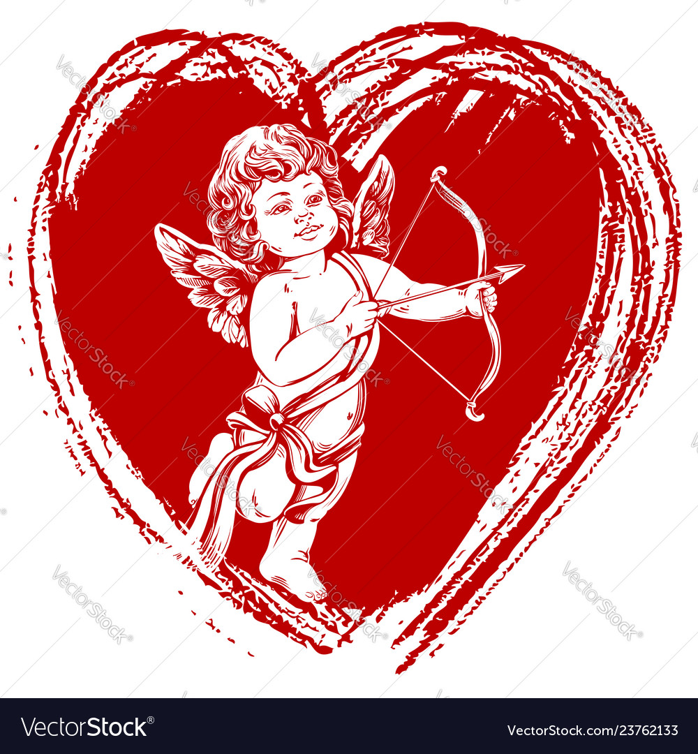 Angel little baby cupid shoots a bow with an