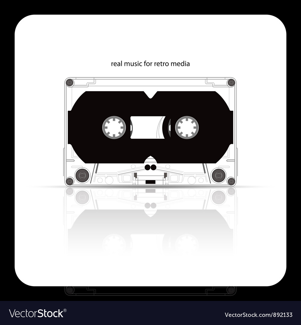 Audio tape cassette isolated on white vector image