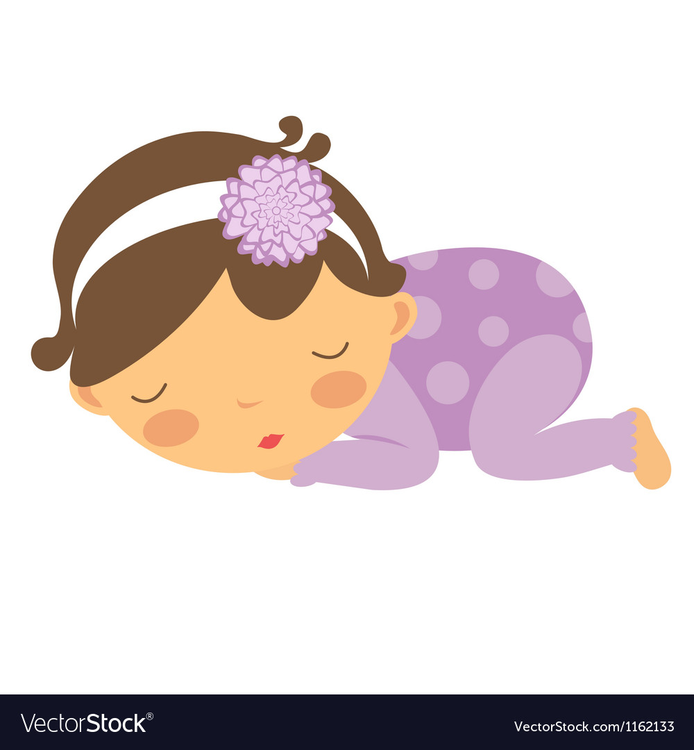 Baby Girl Sleeping Royalty Free Vector Image Vectorstock