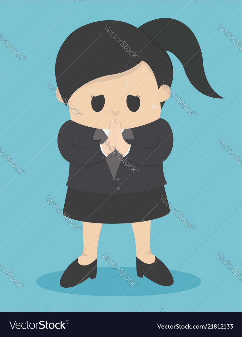 Business woman who regret show hand gesture