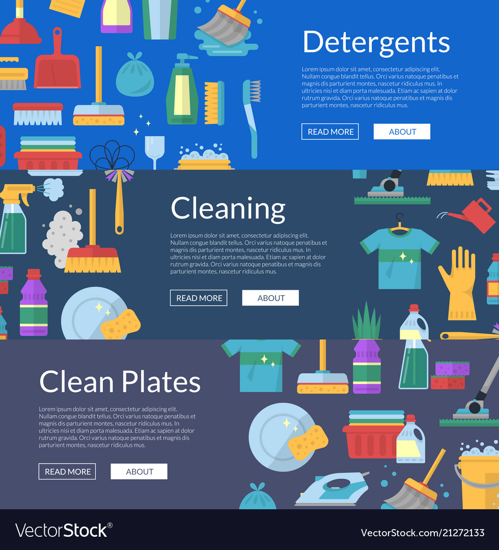 Cleaning flat icons web banners
