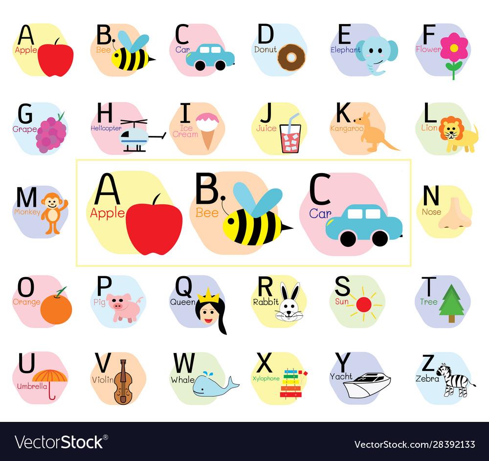 Cute Abc Alphabet Simple Flat Cartoon Style Vector Image