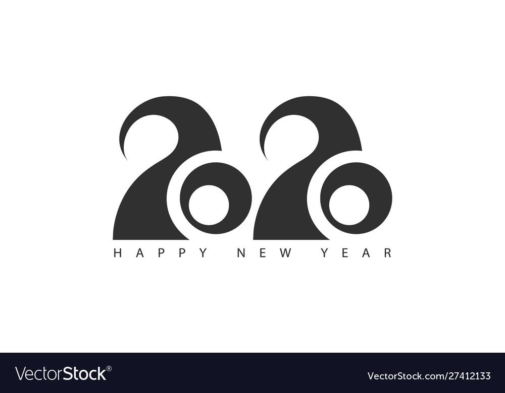 Happy new year 2020 logo text designbrochure