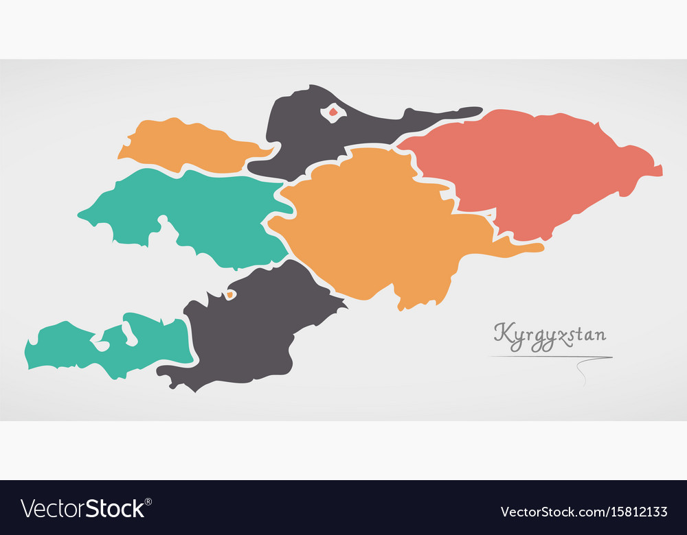 Kyrgyzstan map with states and modern round shapes kyrgyzstan map with states and modern round shapes vector image gumiabroncs Choice Image