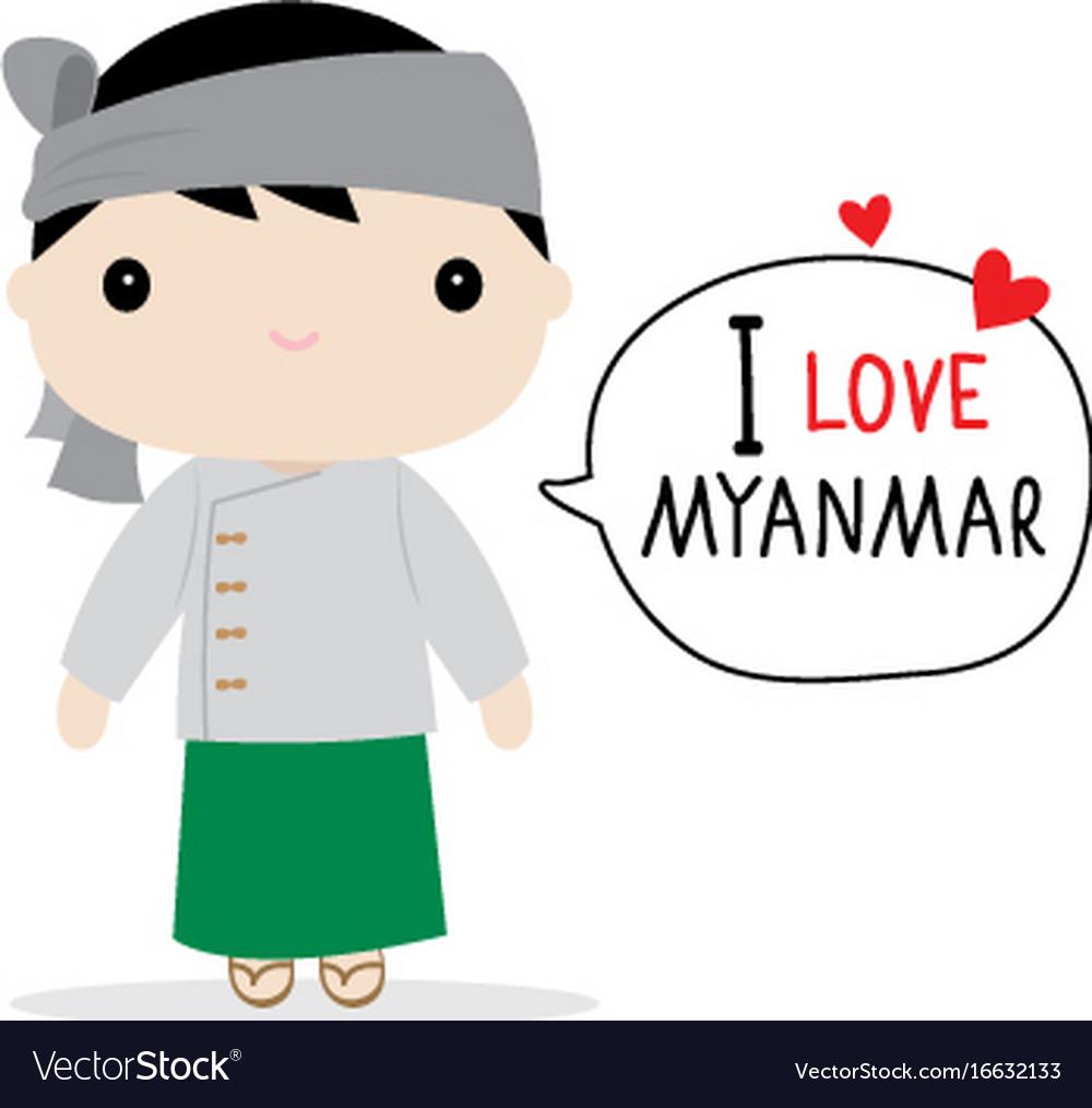 Myanmar men national dress cartoon vector image