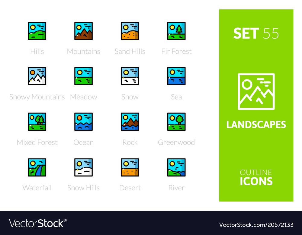 Outline color icons set
