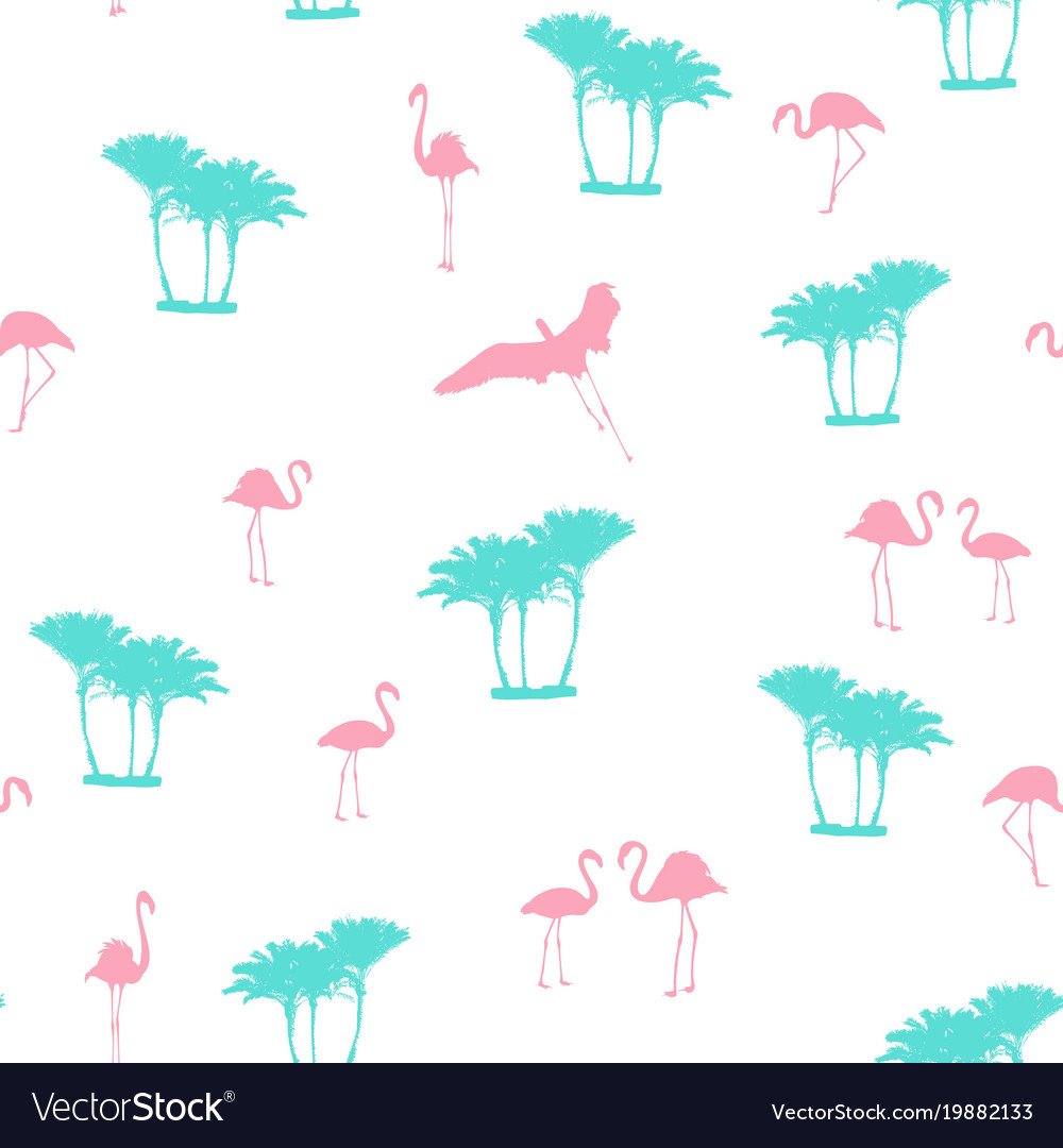 Pink flamingo blue palm trees seamless pattern