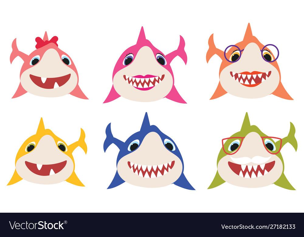 Set cartoon shark family collection of