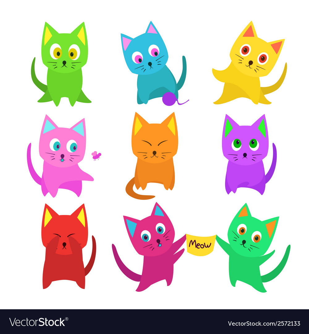 30de6588b9b23 Set of funny cartoon cats in unusual colors