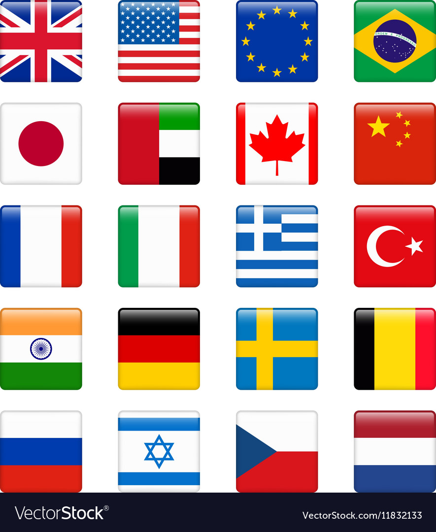 Set of popular country flags Glossy square icon