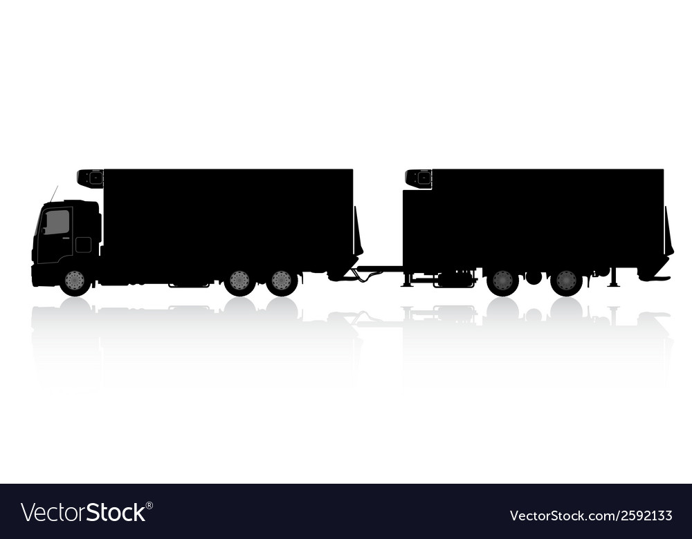Silhouette of a truck with a trailer