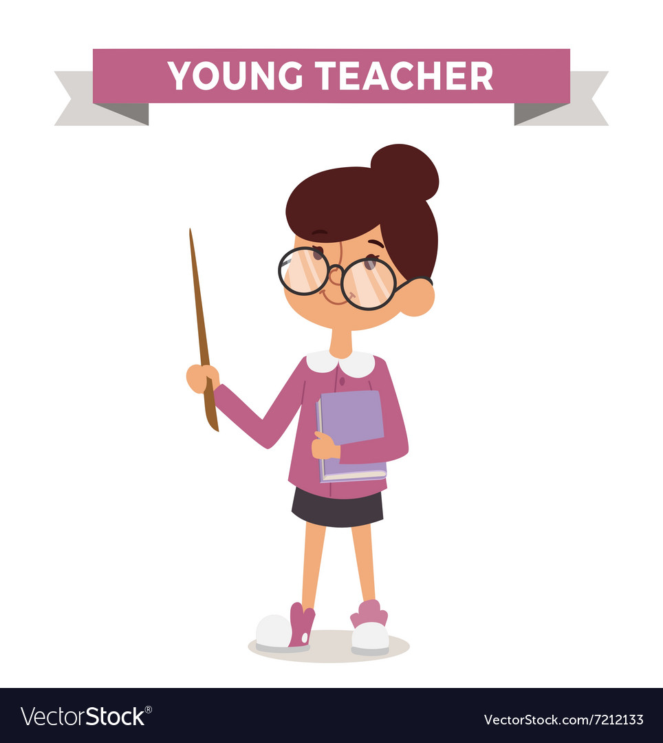 Teacher girl with book isolated on white vector image