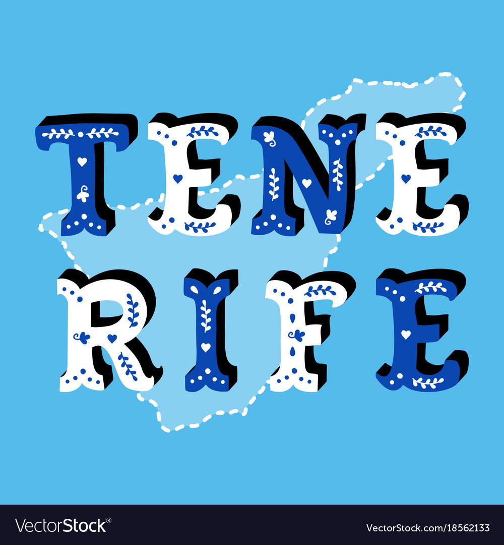 Tenerife decorative ornate text with island map