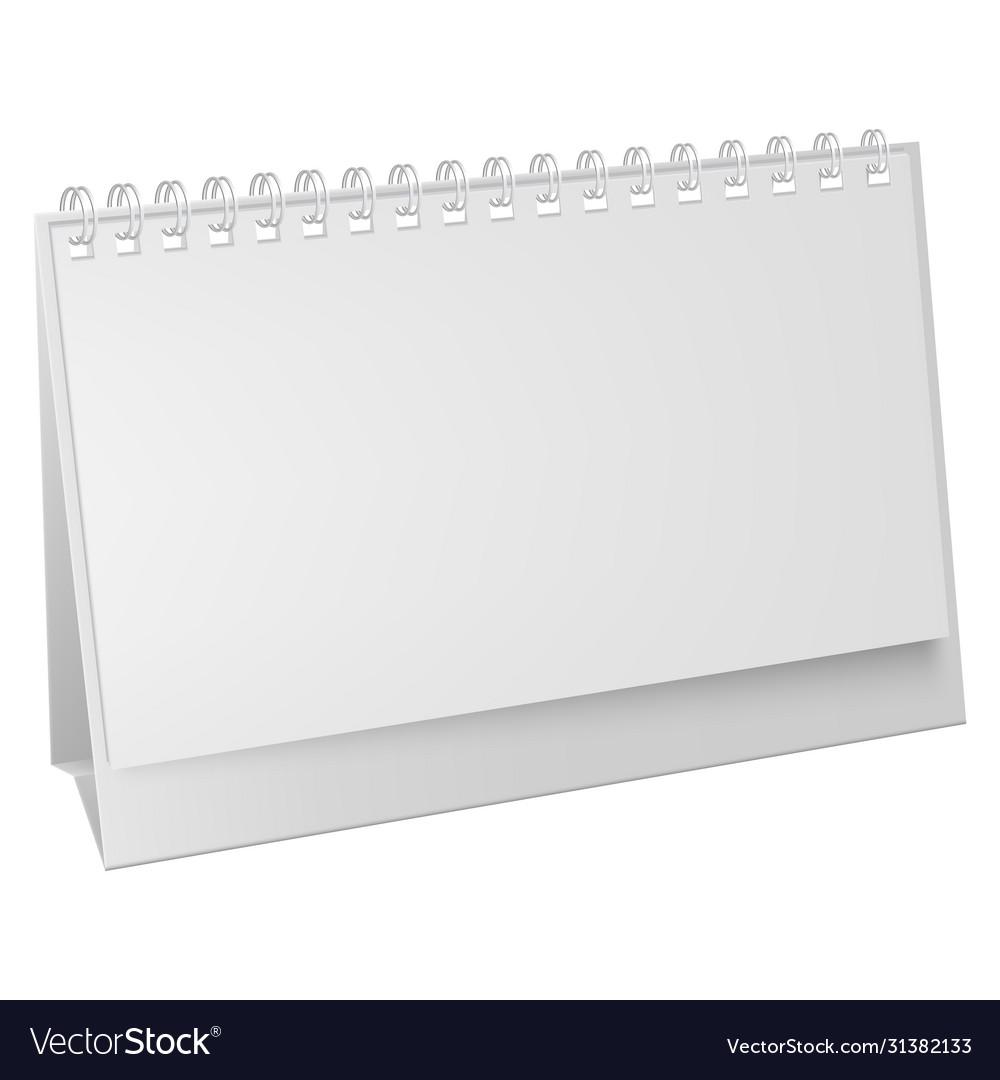 White blank paper desk spiral calendar vertical