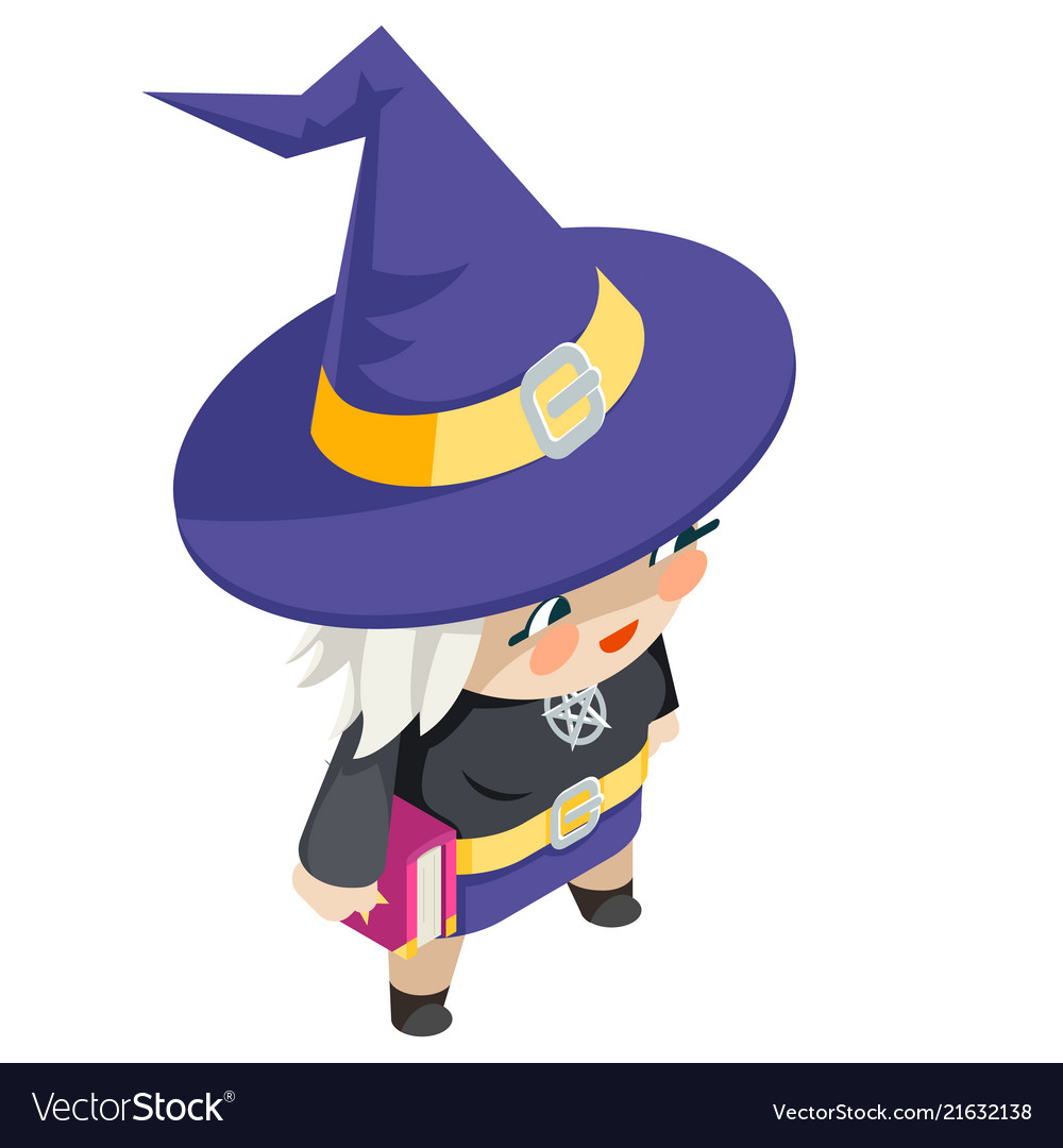 Cute witch girl isometric costume halloween