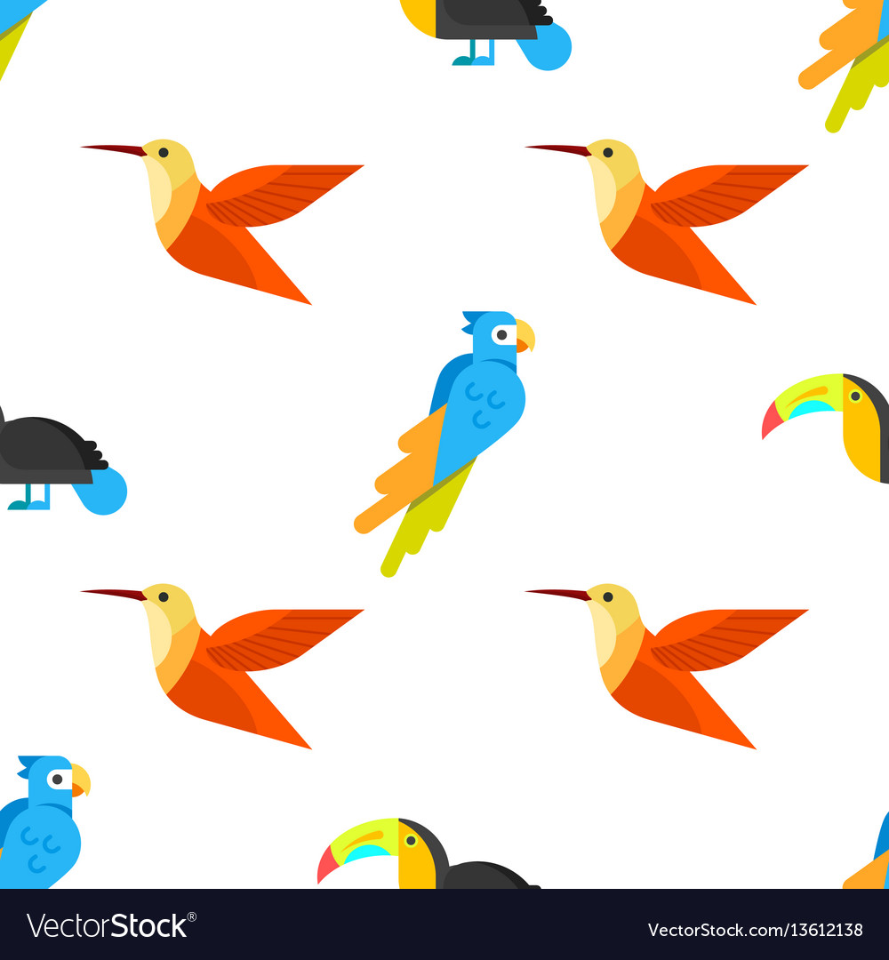 Flat style seamless pattern with parrots vector image
