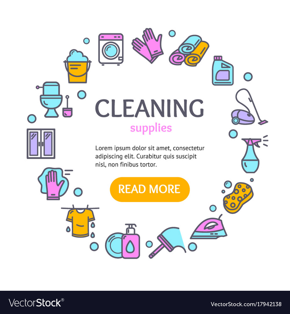 Household and cleaning tools color round design