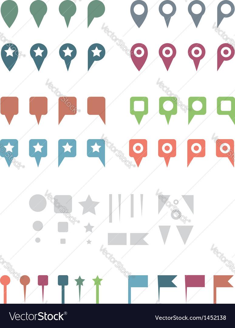 Map pins flat white