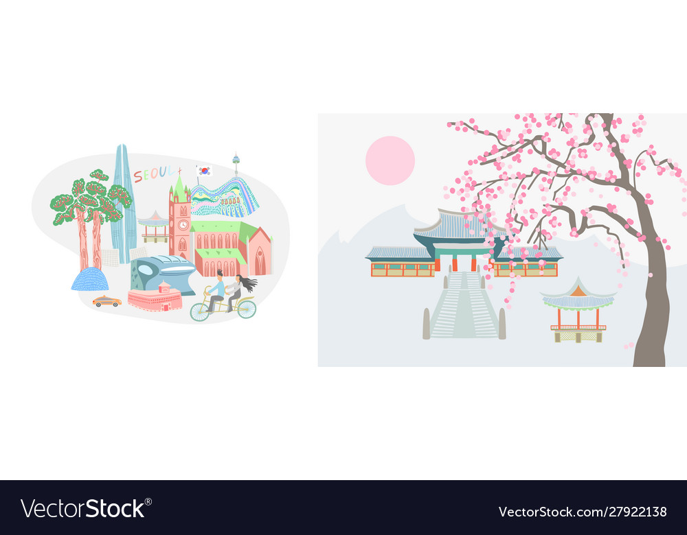 Seoul city and traditional village