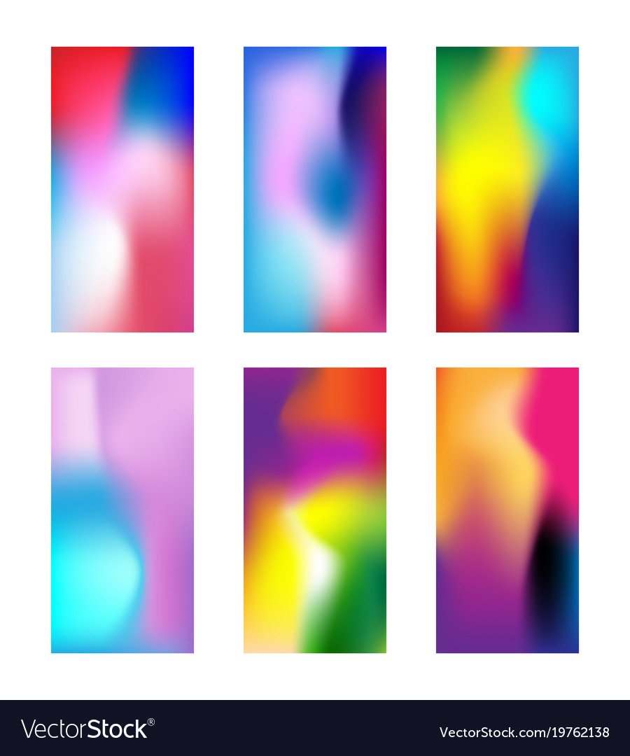 Set of modern colored wallpapers elegant blurred
