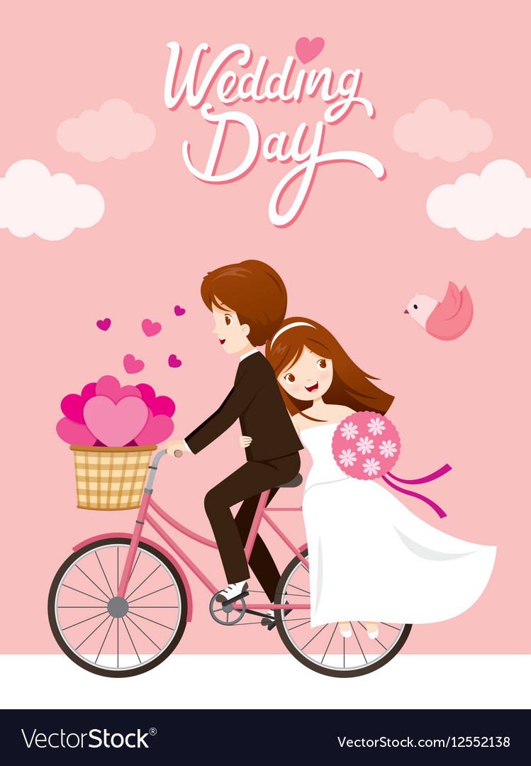 Wedding Card Bride Groom Riding Bicycle vector image