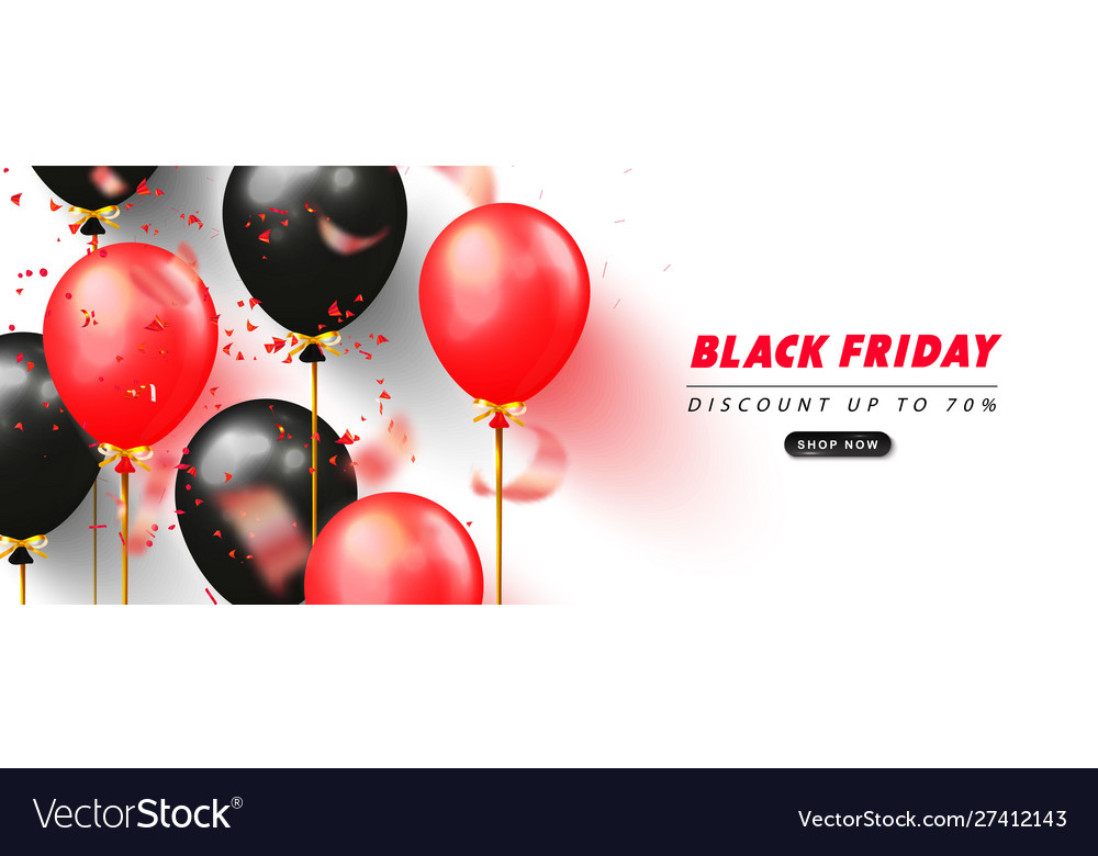 Black friday sale promotional banner with black