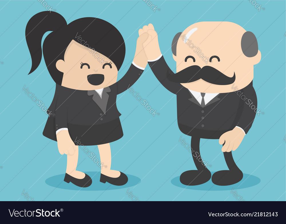 Businessmen congratulate successful business