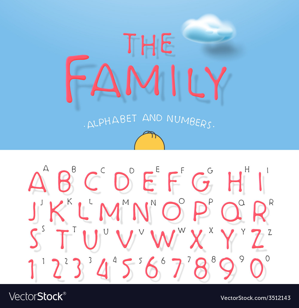 Cartoon alphabet and numbers vector image