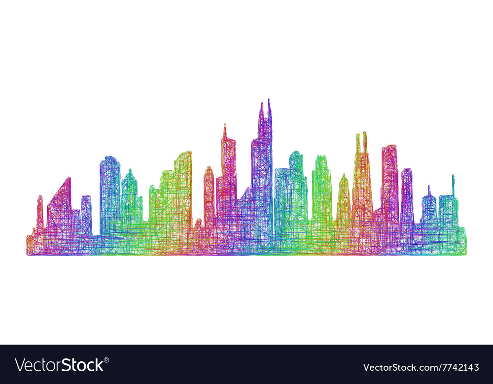 chicago skyline silhouette multicolor line art vector image
