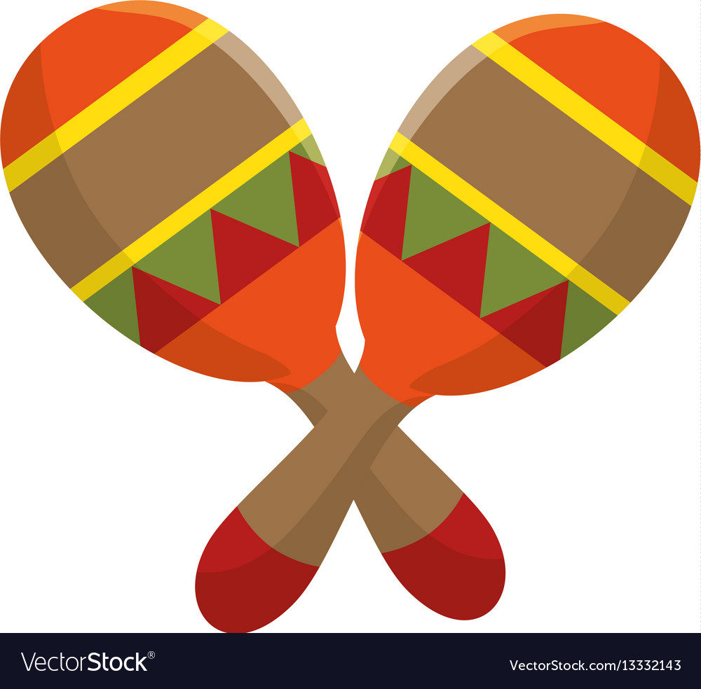 Colorful pair mexican maraca instrument icon vector image