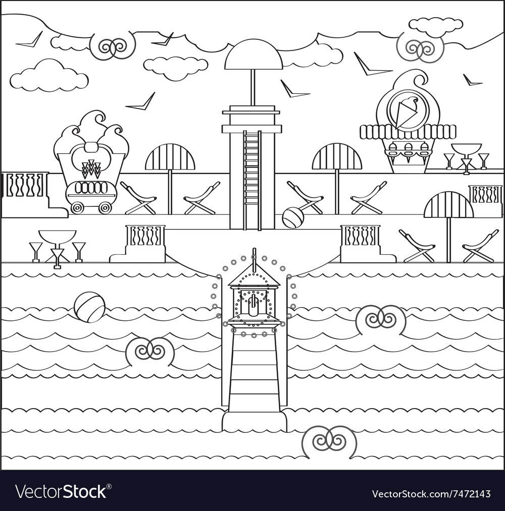 Coloring Page with Beach Lighthouse Royalty Free Vector