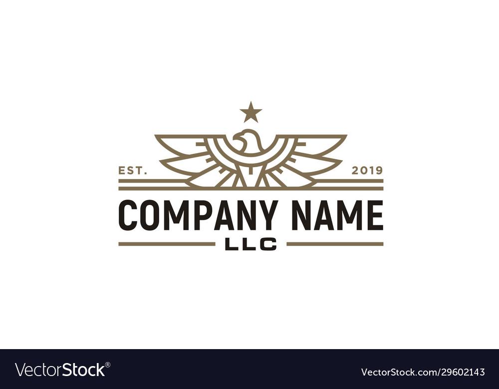 Eagle hawk falcon bird wings badge logo