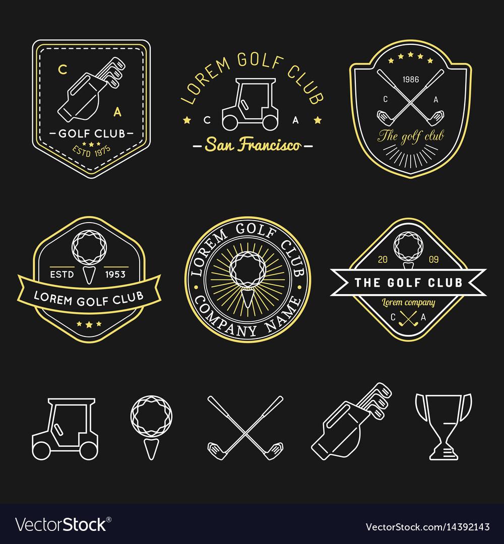 Golf logos set sports club linear